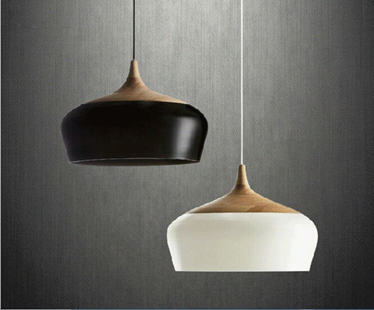 Modern Wood and aluminum pendant lights black/ white restaurant bar coffee dining room hanging light fixture modern lamps pendant lights wood and aluminum lamp black white restaurant bar coffee dining room led hanging light fixture