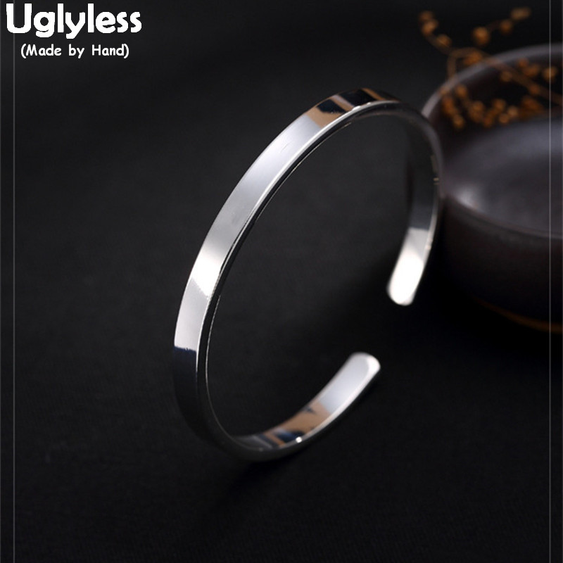 Uglyless Real S999 Silver Fine Jewelry Elegant Lady Glossy Bangle Wide Bangles Women Evening Dress Bijoux Opening Korean DesignUglyless Real S999 Silver Fine Jewelry Elegant Lady Glossy Bangle Wide Bangles Women Evening Dress Bijoux Opening Korean Design