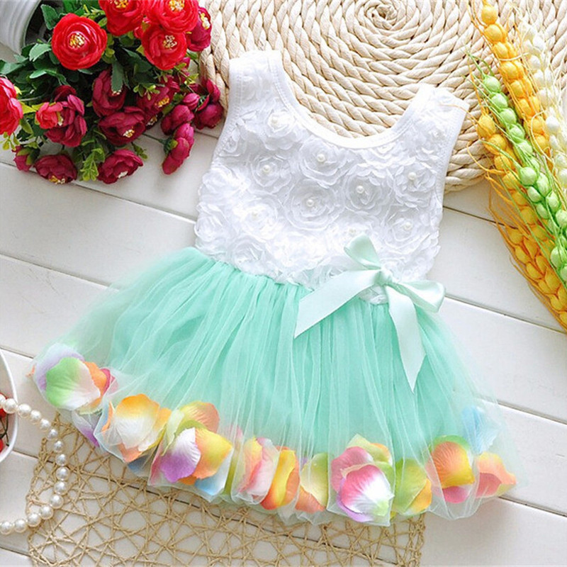 Infant Baby Girl Clothes Easter Party Wedding Christening Formal Clothes Mini Dresses For Infant 7-24M Blue Pearls Pattern (4)