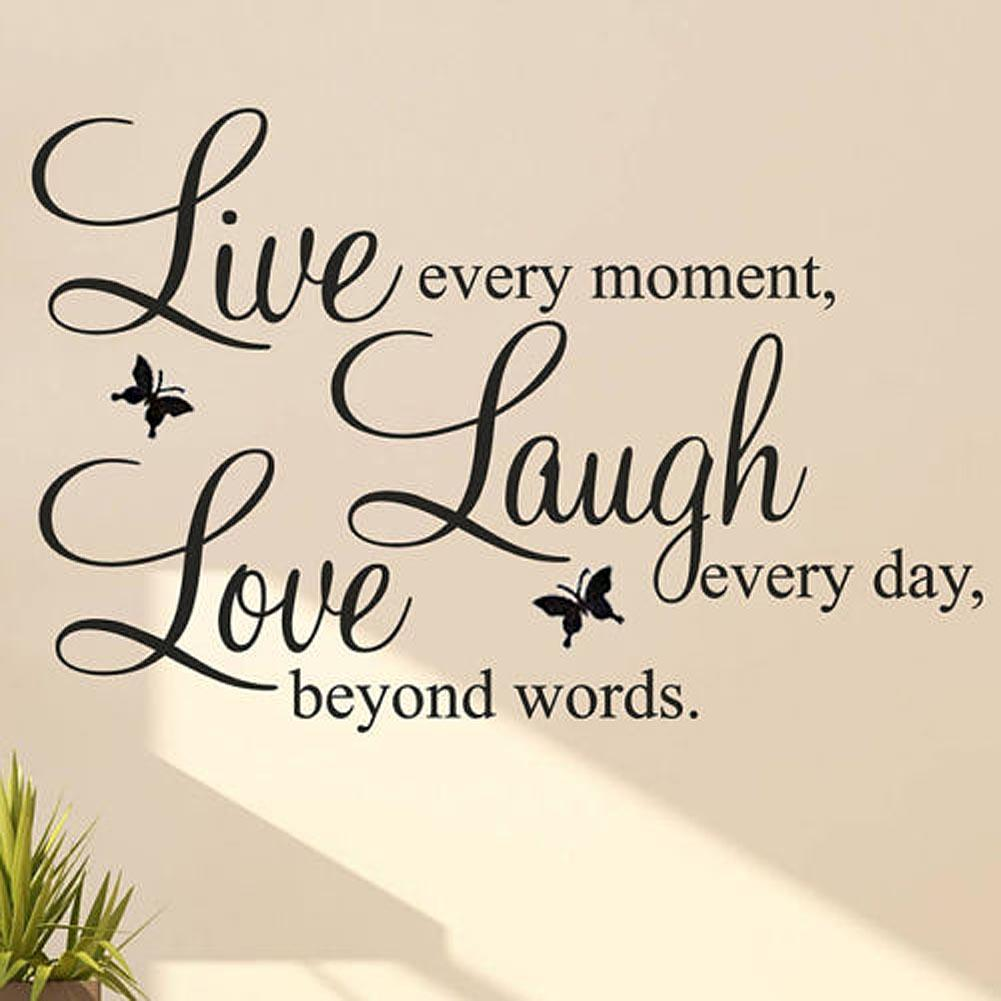 US $2.3 34% OFF|Quote Wall Sticker LIVE LAUGH LOVE Quote Vinyl decal  motivational words poster Office Home Decor Wall Stickers-in Wall Stickers  from ...