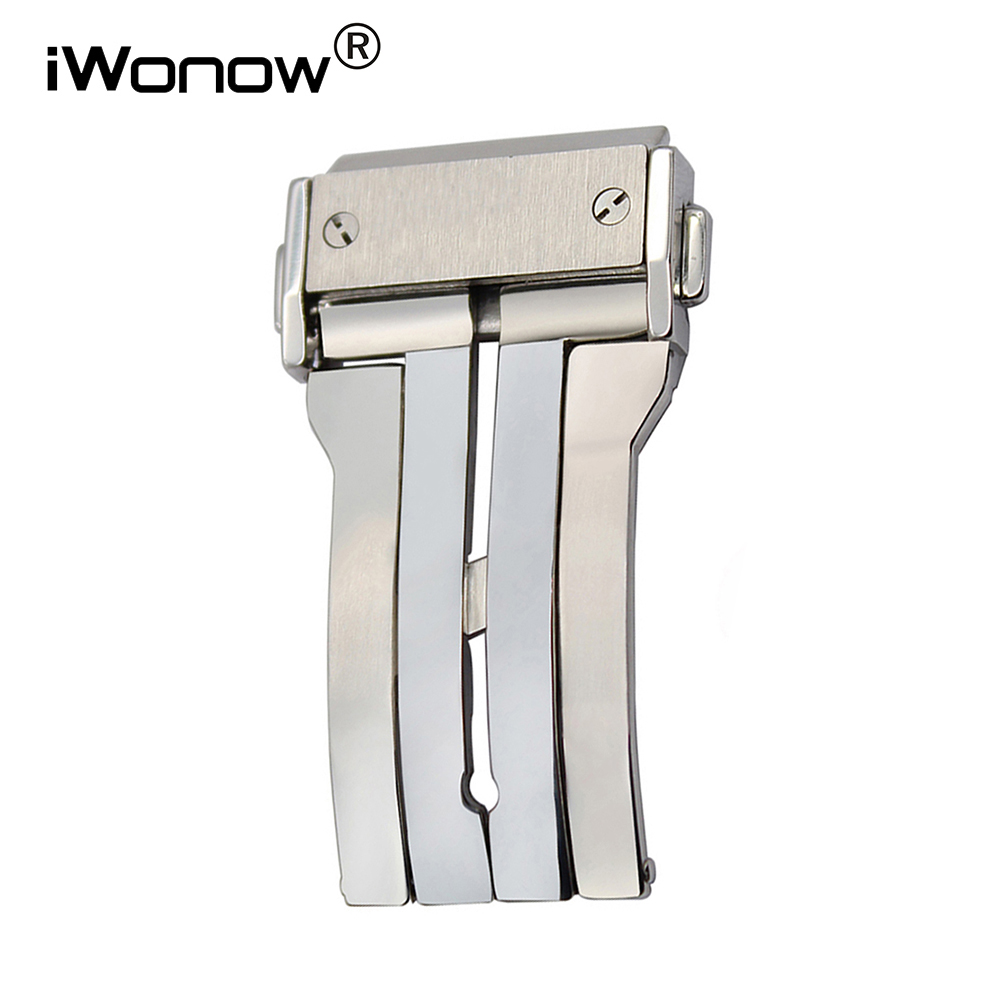 Stainless Steel Watch Buckle for HUB Watchband Brushed Butterfly Deployment Clasp Double Push Button Silver 18mm 20mm 22mm 24mm купить дешево онлайн