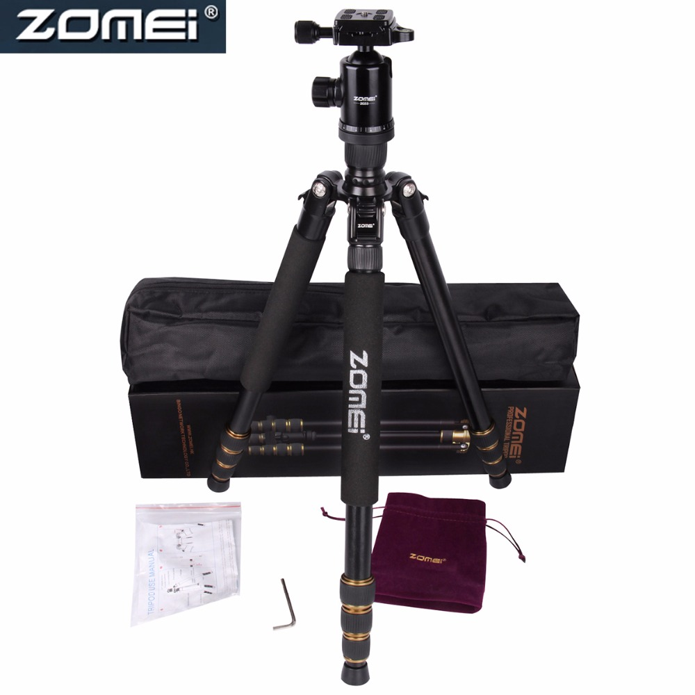 ZOMEI Aluminum Professional Tripod Monopod For DSLR Camera With Ball Head / Portable Camera Stand Z688  High Quality new zomei z688 aluminum professional tripod monopod for dslr camera with ball head portable camera stand better than q666