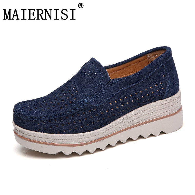 2018 Summer women flats shoes platform sneakers shoes   leather     suede   cutout casual shoes slip on flats creepers moccasins