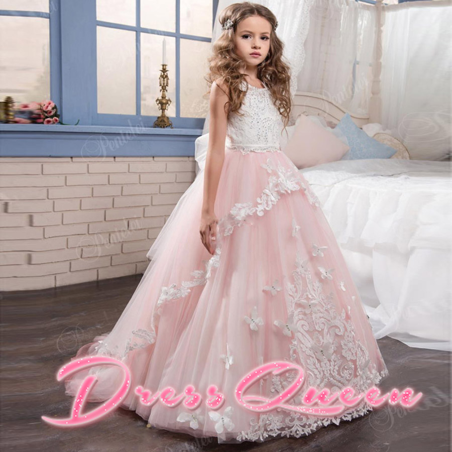 2017 New Arrival Pink Lace Flower Girl Dress For Wedding Tulle Appliques First Communion Dresses Ball Gown Vestidos Longo Custom 4pcs new for ball uff bes m18mg noc80b s04g