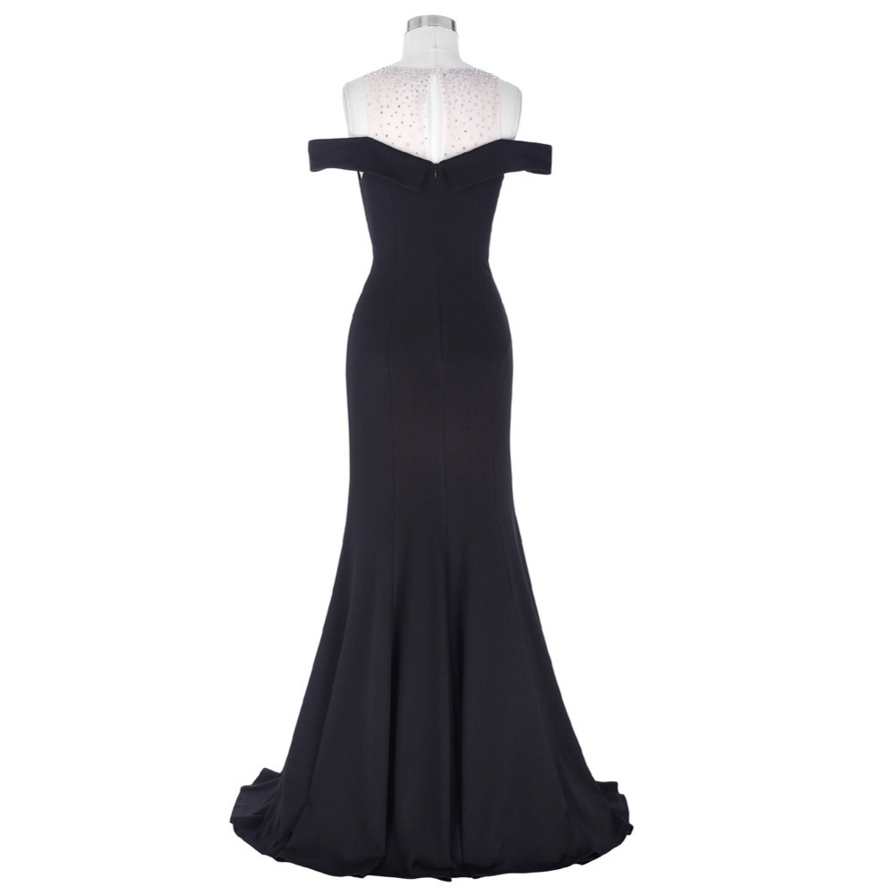 Kate Kasin Long Black Prom Dress Vestido de Festa Floor Length Party Gown Evening Dress Mermaid Prom Dresses 2018 with Beaded 1