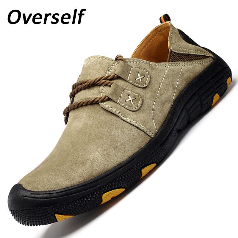New Fashion Suede Kulit Asli Datar Pria Sepatu Oxford Kasual Pria Sepatu Kulit Rendah Luar lace up Berjalan Sepatu Ukuran Besar