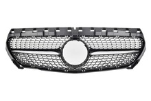 For Mercedes-Benz CLA-class W117 CLA200 CLA250 2013-2018 with Emblem Black/ Silver Diamond Style Front Racing Grille