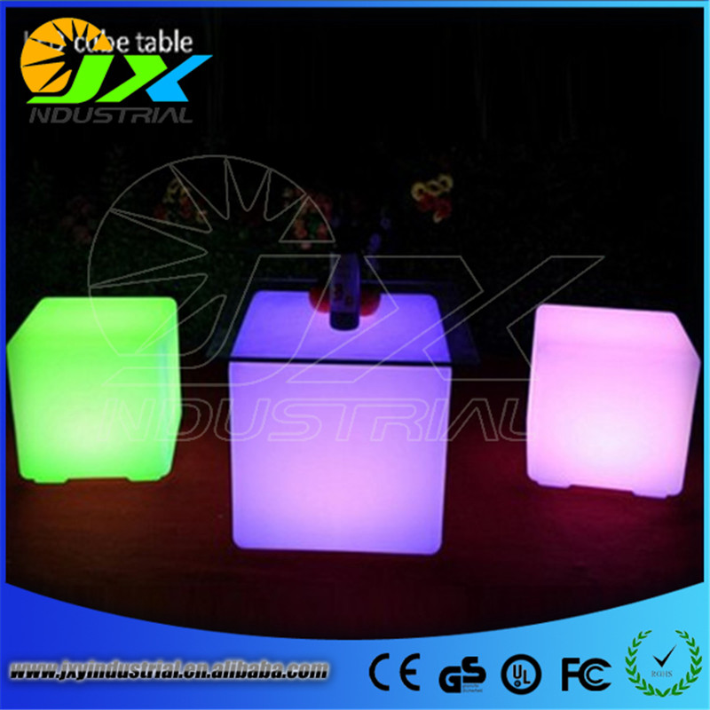 2015 free shipping 50cm LED cube chair for outdoor party/Led Glow Cube Stools Led Luminous Light Bar Stool Color Changeable