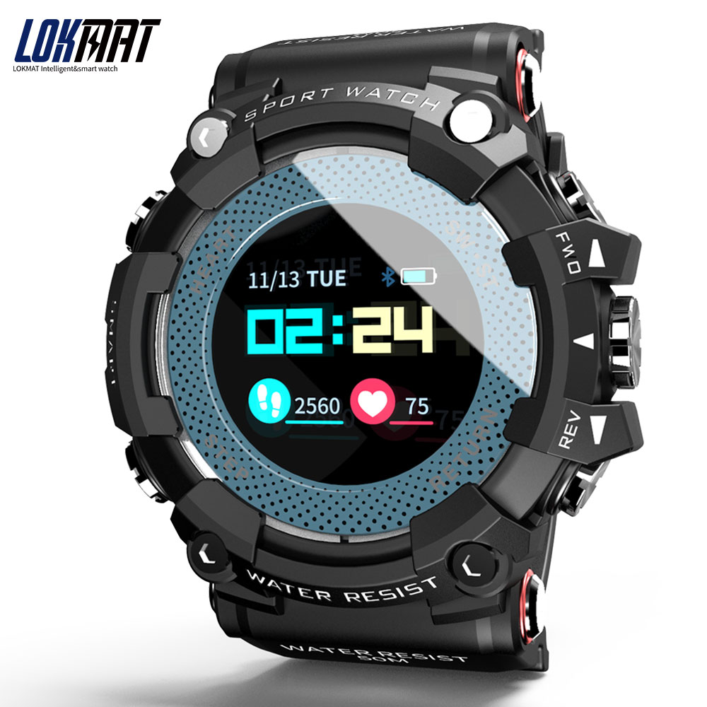 LOKMAT Bluetooth Smart Watch Heart Rate Monitor Sport Waterproof Push Message Call Reminder Color Display For