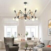 LukLoy Spider Pendant Lights Multi color Modern Hanging Lamp Light Adjustable Nordic Retro Living Room Loft Kitchen Wood Lamp