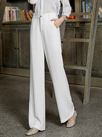 Cotton Linen High Waist Wide Leg Pants Women Summer Breathable Minimalist Loose Full Length Trousers Plus Size Women Clothing