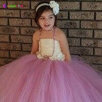 Ksummeree Sommer Vintage Mädchen Tutu Kleid Foto Hochzeit Geburtstag Couture Kinder Blume Kleid mit Passenden Stirnband TS109