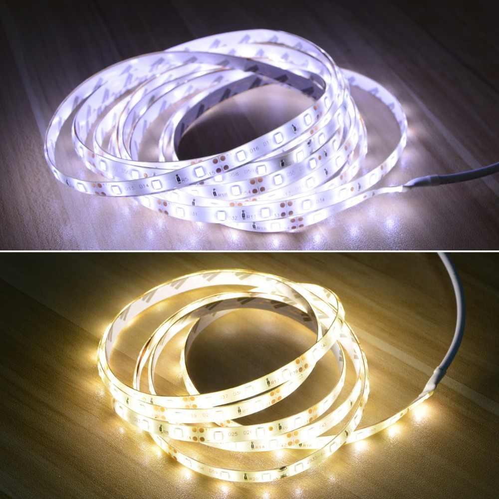 Aimengte LED Sensor Gerak Lemari Lemari Lampu Tidur Di Bawah Kabinet Malam Lampu LED Fleksibel Strip 12V Tape 110V 220V US Plug Uni Eropa