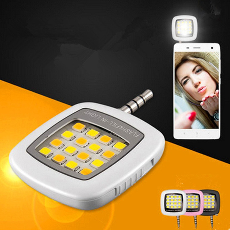 2017 Mini 16 LED Spotlight Fill Selfie Flash Light For Camera Phone Lens For iPhone 4s 5 5s 6 6S 7 Plus Samsung Xiaomi redmi 2 3