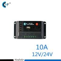 Black Color Mini Solar Controller 10A 12V 24V PWM Solar Charge Controller LED Timer USB Output