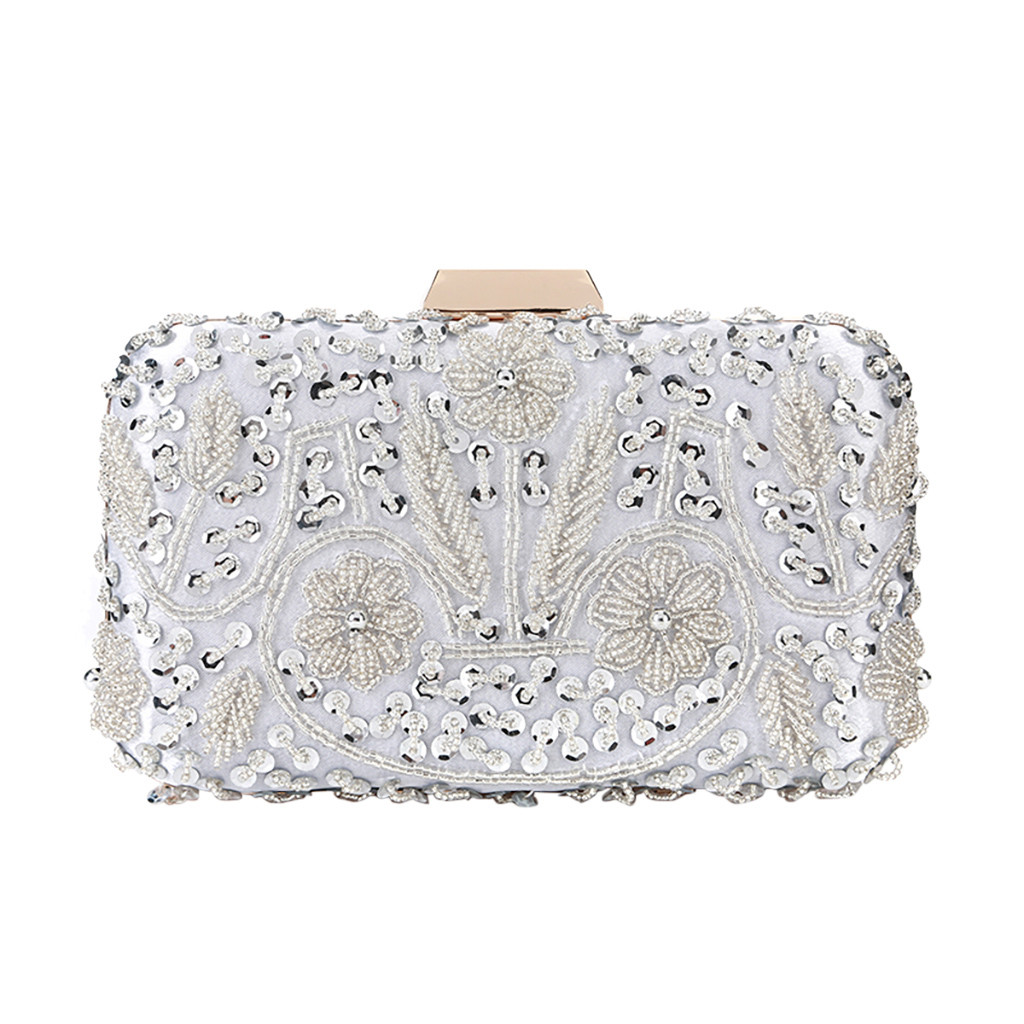 Clutch-Shoulder Beaded Evening-Bag Wedding-Clutches Glitter Sequins Party Handmade Crossbags