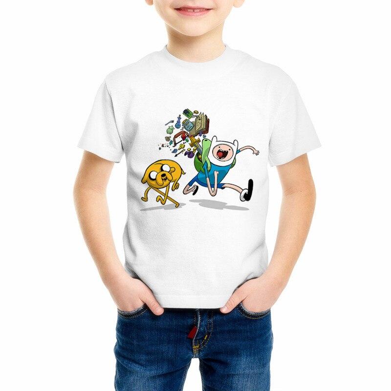 Лето мультфильм мальчик и девочка детская время приключений Футболка белая детская футболка в стиле хип-хоп мягкая и удобная футболка 338-C