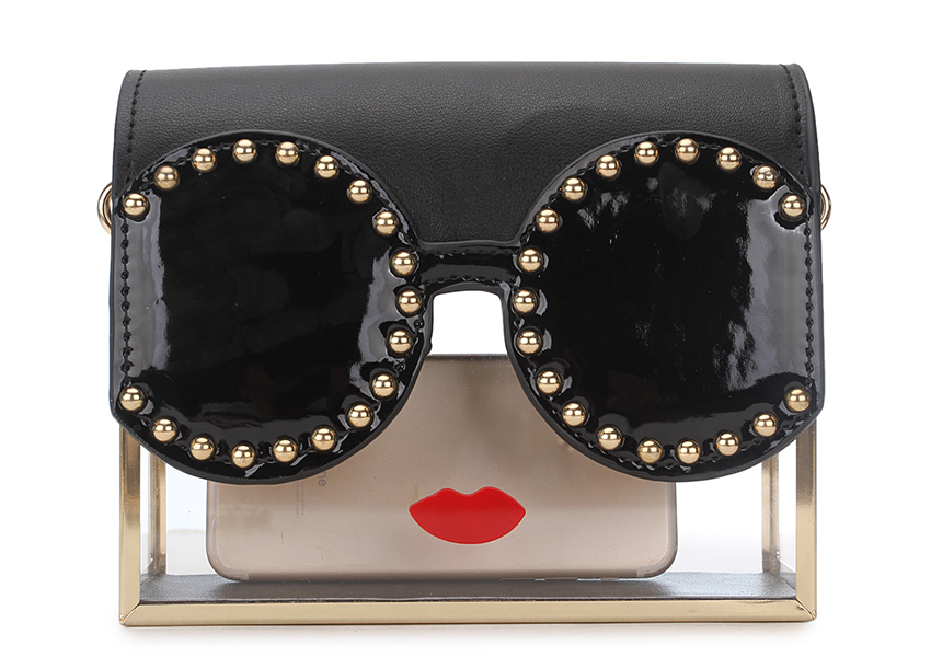 Lips Rivet Design Metal Cadeia Bolsa Crossbody