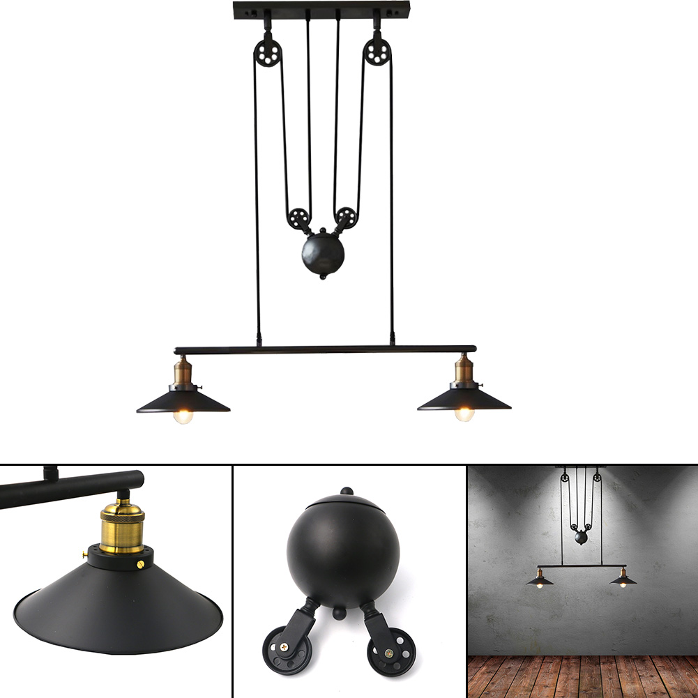 2 Heads/3 Heads Home Shop Art Deco Pendant Lamps Retro Iron Pulley Light Loft American Vintage Industrial Pulley Droplight deco home буфет