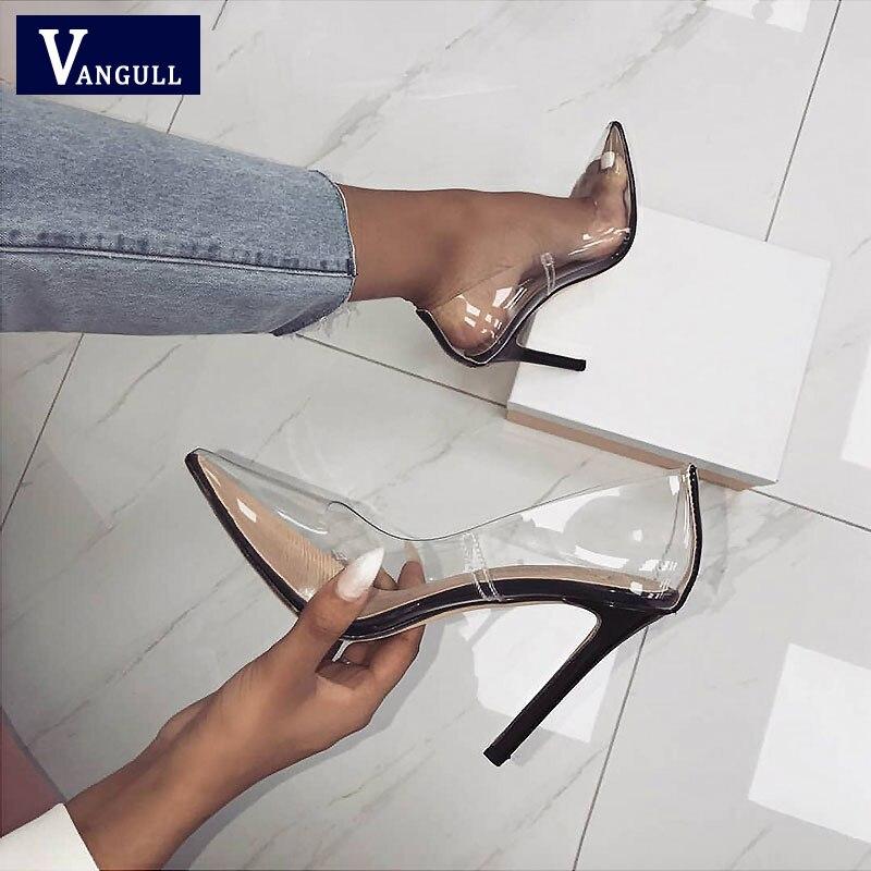 Chaussures d'été clair PVC sandales 2019 chaud Perspex talon Stilettos talons hauts Point orteils femmes parti chaussures discothèque pompes 36-41