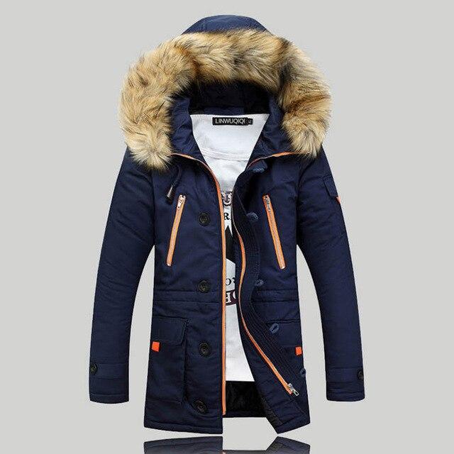 Novo 2016 Inverno Mens Roupas Thicking Parka Homens do Revestimento do Revestimento Com Capuz de pele Jaquetas Homens plus size Vestidos de alta Qualidade venda quente