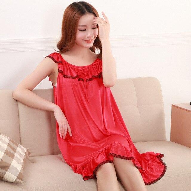Blanco color Rojo a la venta! nuevos 2017 frescos de seda ropa de dormir de las mujeres correa de espagueti de la cintura delgada sexy camisón salón envío libre