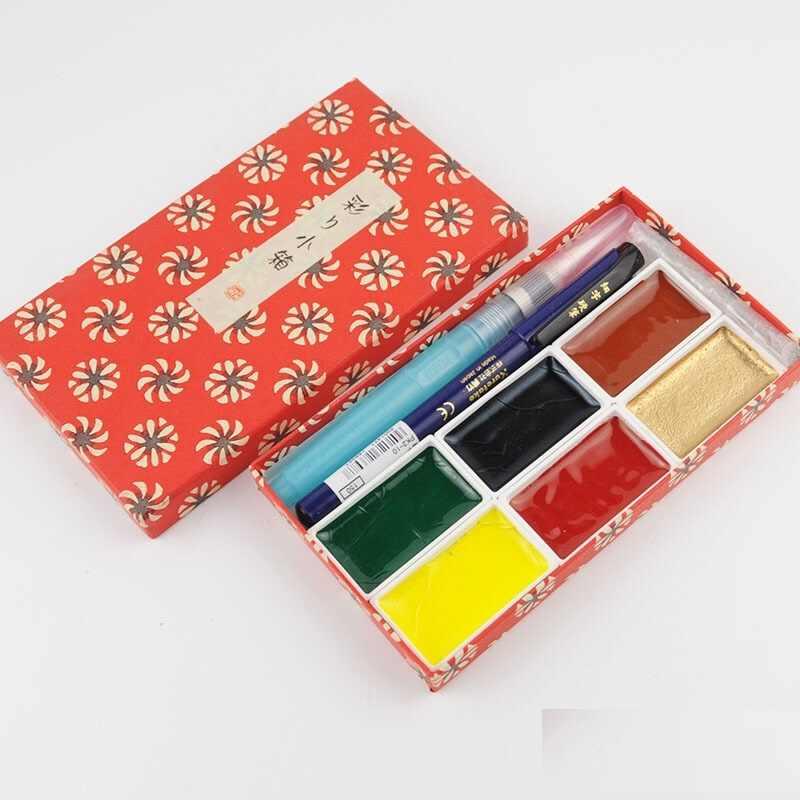Kuretake 6 kleuren Solid Aquarellen set hoge kwaliteit Pigment handige draagtas tekening Levert