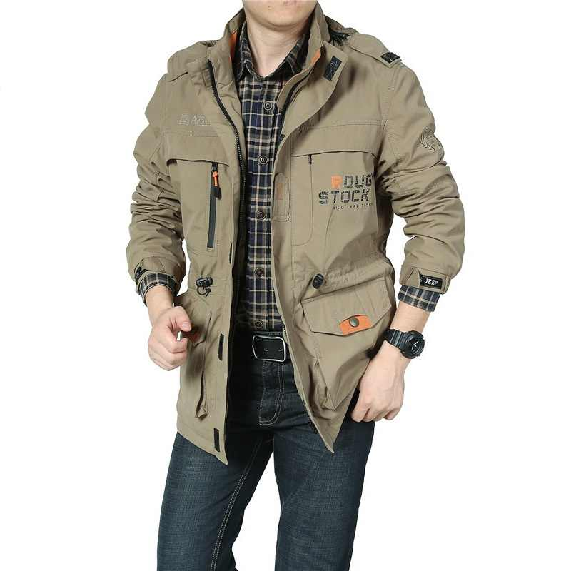 ecb946a02cc Brand Clothing Jacket Men Bomber Jacket Military Jacket Army Green  Multi-pocket Waterproof Windbreaker Jackets