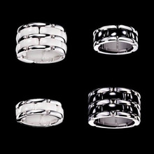 Top Quality Single Double Style Black White Ceramic Ring Knuckle Tail Chain Rings For Men Women Stainless Steel Jewelry