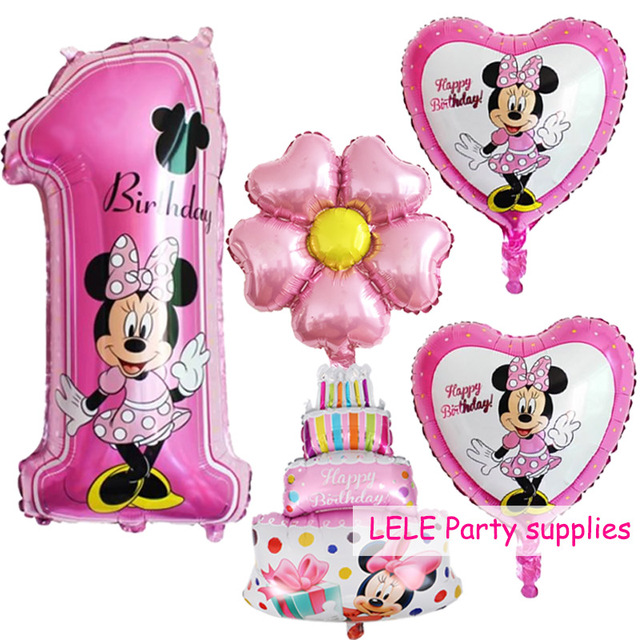 5pcs Mickey Minnie Number 1 year Foil Balloon Birthday party Decoration globos Air inflatable Balloons Pink Blue Baby Shower