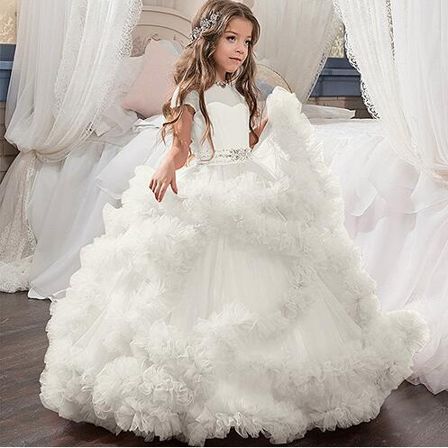 New White Flower Girl Dresses Blush Pink First Communion Gowns For Girls Ball Gown Cloud Beaded Pageant Gowns Vestido De Daminha 2017 pretty pink first communion dress with bow puffy flower girl dresses girl pageant gown vestido de primera comunion