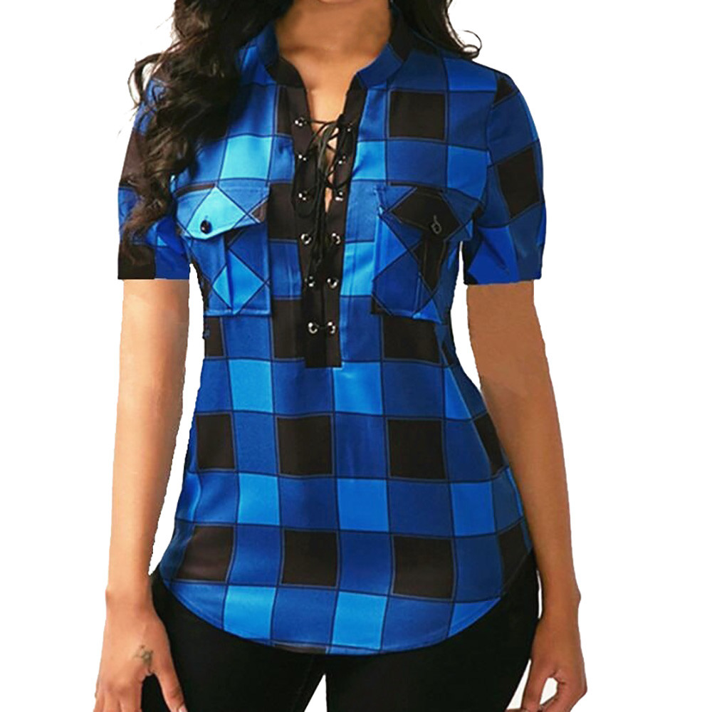 Women Plaid   Blouse     Shirts   Top Causal Short Sleeve V Neck   Shirt   Sexy Bandage Pockets Plus Size 5XL 2019 Mujer Blusas Office Lady
