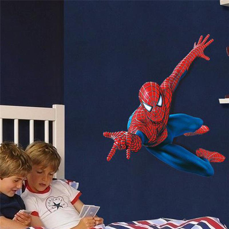 3d Spiderman Wall Stickers For Kis Room Decor Cartoon Wall Decals Art Movie Roles Super Hero Childrens Gift