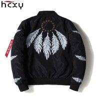 HCXY Jacket Men 2017 New Spring Fashion Brand Clothing Black Ma1 Bomber Feather Print Pilot