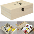 Home Storage Box Natural Wooden With Lid Golden Lock Postcard Home Organizer Handmade Craft Jewelry Case Wedding Gift