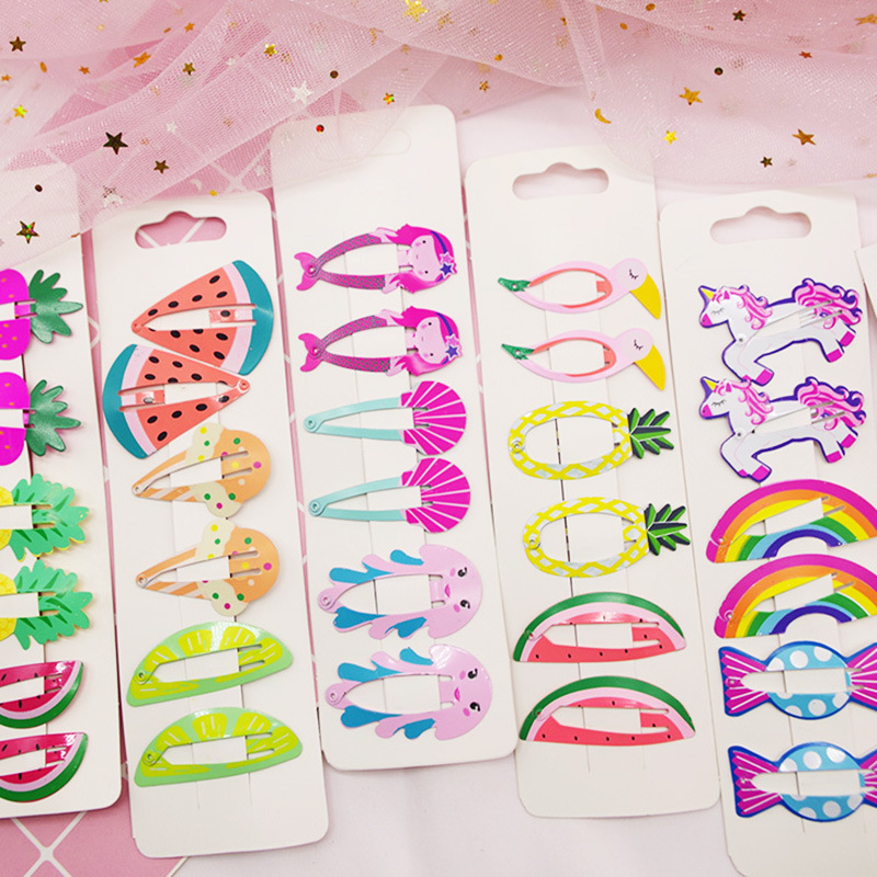 6Pcs/Lot Hair Accessories Cartoon Fruit Hair Clips Cute Star Hairgrip For Girl Metal Children Snap Ins Style Bobby Pins   Headwear