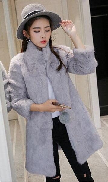Manteau De noir Clair bleu Livraison Personnalisée rose mint Fourrure Taille Pleine Survêtement Gratuite Lapin Longue Veste Pardessus Femmes Green gris Pelt Réel Manteaux Zf893 Royal White 40ISq
