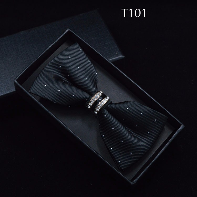 Tuxedo Metal Crystal Wedding Bow Tie Men Women Butterfly Knot Cravat Black Purple Blue Jujube Red Groom Party Banquet Meet Club 1
