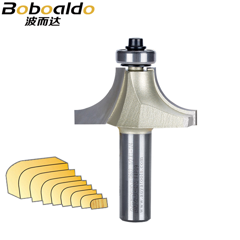 1pcs 1/4 1/2 Shank Rounding Over Cutter Beading Cutter With Ball Bearing Arden Router Bit Router Bits For Wood Woodworking Tool