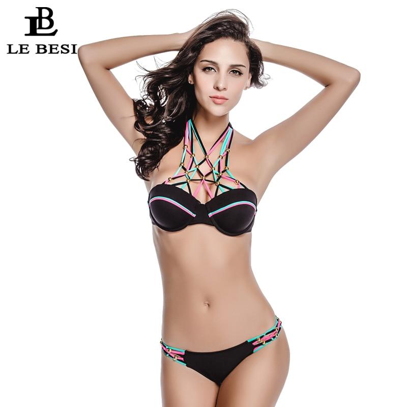 ФОТО LE BESI 2016 New Bangdage Bikinis Set For Women Sexy Underwire Crochet Swimwear Push Up Swimsuit Brazilian Biquini Bathingsuit