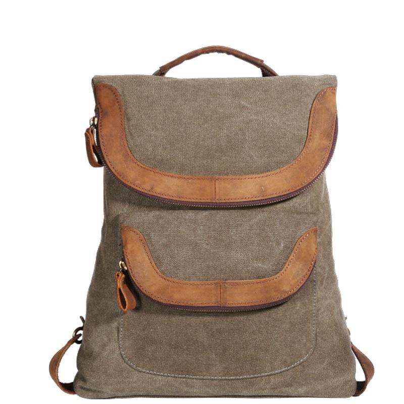 M236 Vintage mode sac à dos en cuir militaire toile sacs à dos hommes femmes école sac à dos cartable sac à dos Mochila-in Sacs à dos from Baggages et sacs    1