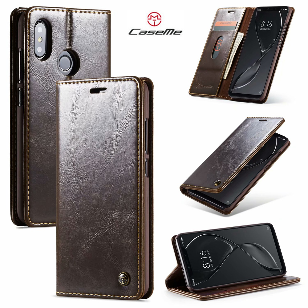CaseMe Magnetic Wallet Phone Cases For Xiaomi Mi8 Luxury Leather Flip Case For Redmi 6 6A Note 6 Pro Credit Card Stand Cover