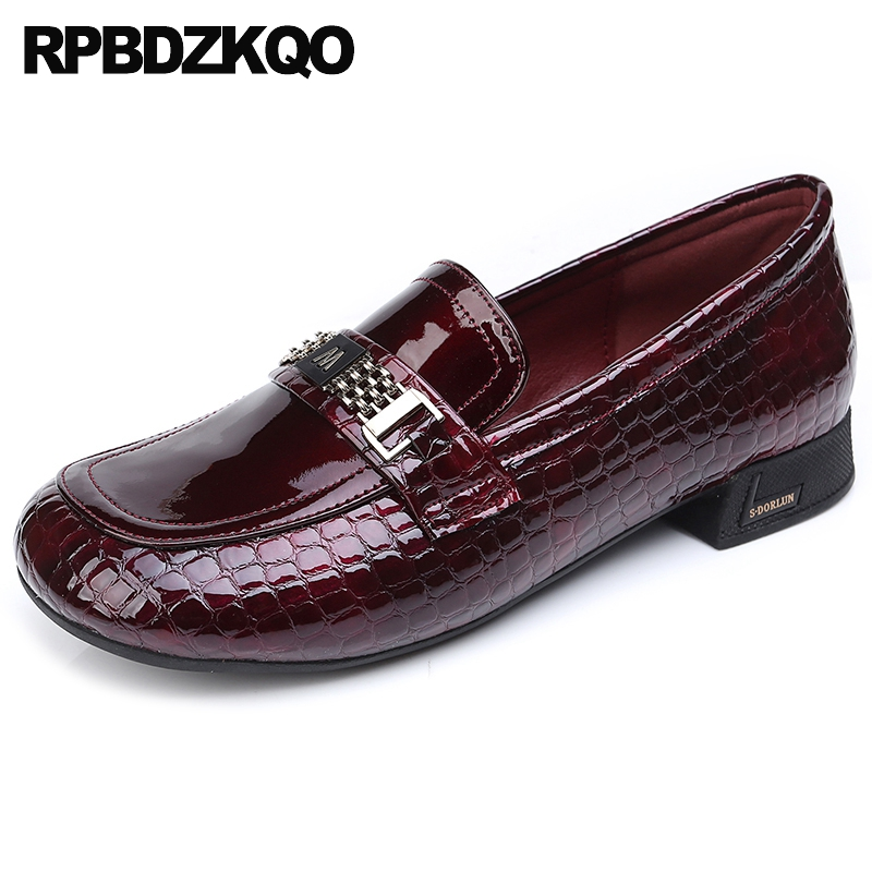 large size black round toe women wide fit shoes ladies red wine snake metal 11 china british style 43 patent leather loafers 10