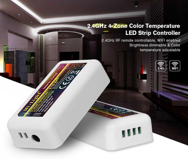 Untuk Dual Putih Lampu LED Strip Mi Light 2.4G RF Nirkabel WiFi 4 Zona Suhu Warna Disesuaikan CCT Dimmable controller Dimmer