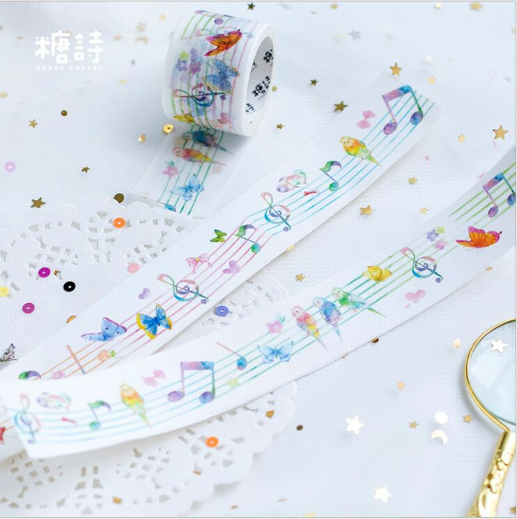 30mm Wide Forest Concert Music Notes Decorative Diary Washi Tape DIY Planner Scrapbooking Masking Tape Escolar