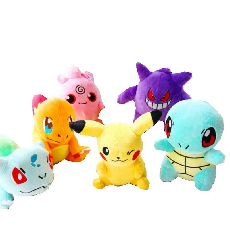 20 cm Pikachu Bulbasaur Gengar Plüsch spielzeug für kinder Geschenk Weiche Spielzeug Kawaii Nette Cartoon Spielzeug Tasche Monster Anime