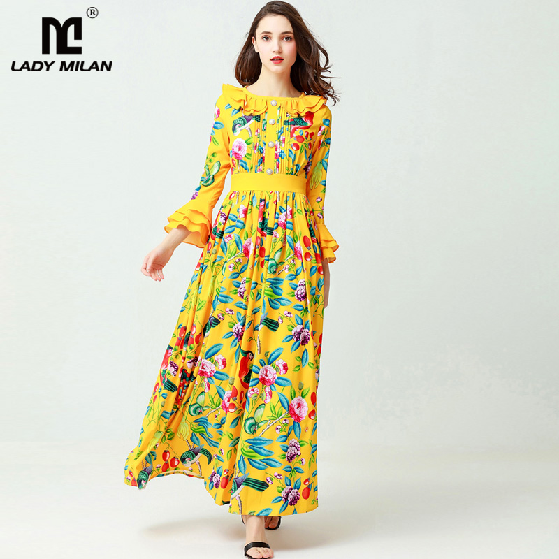 New Arrival 2018 Womens O Neck Long Sleeves Ruffles Ruched Floral Printed Designer Maxi Runway Dresses
