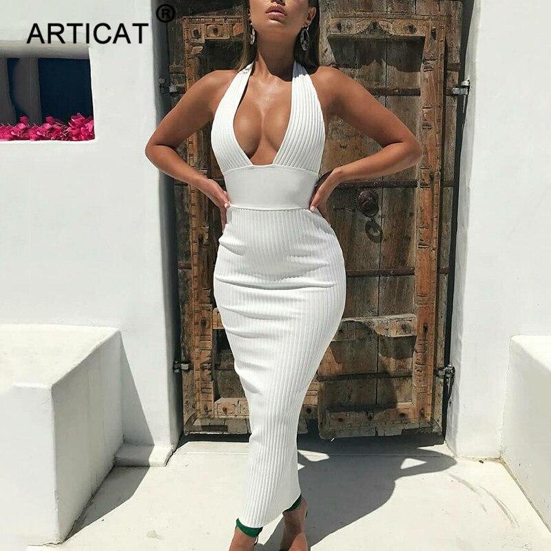 Robe crayon en tricot Sexy à dos nu article femmes blanc à épaules dénudées longue moulante robe de soirée élégante robe d'été 2019 4