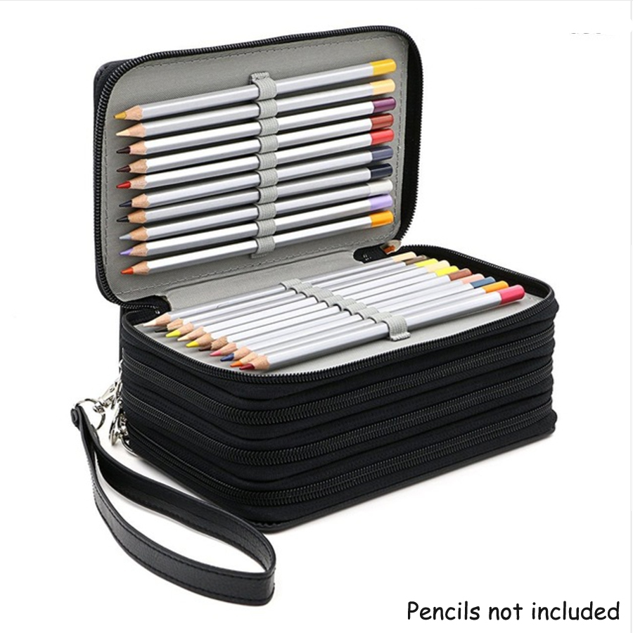 4 Layer 72 Holes Large Capacity Pen Case PU Leather Zipper Pencil Bag Pencilcase School Supplies Handbag Artists Box Stationery good quality 36 48 72 holes canvas pencil case roll up sketch painting pen box school office pencil stationery bag b066