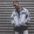 Oversized Denim Jackets For Men 2017 Latest Design Fashion Frayed Hold Man Jean Jacket Loose Washed Blue High Street Coats